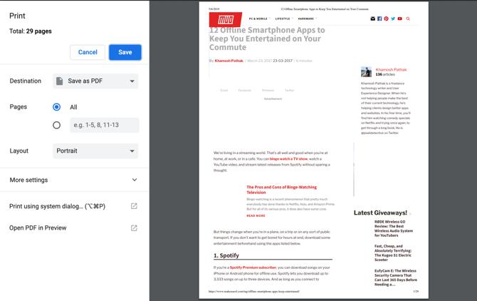 Google Chrome Print Save as PDF