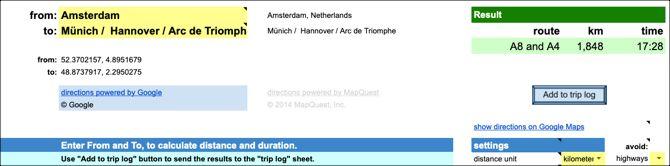 Google Docs Distance Calculator Template
