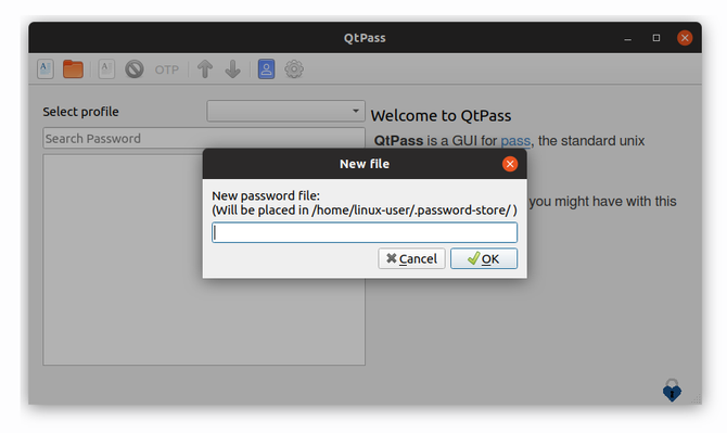 QtPass password manager on Ubuntu Linux