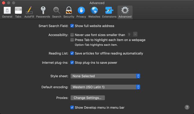 Safari Advanced Preferences