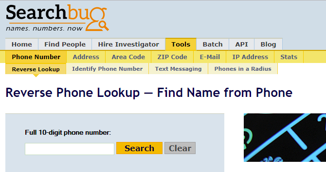 Reverse phone number lookup using Searchbug.