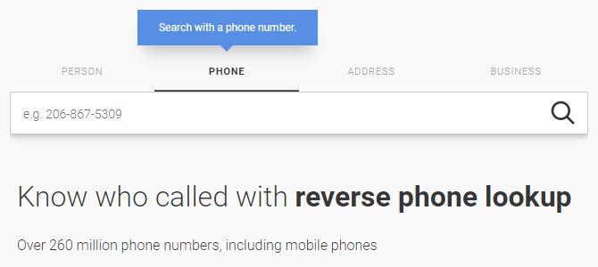 Whitepages reverse phone lookup service.