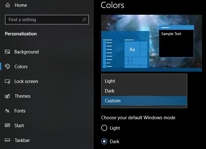Windows 10 color mode