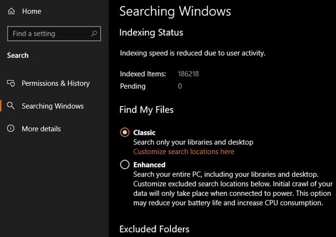 Windows 10 search mode