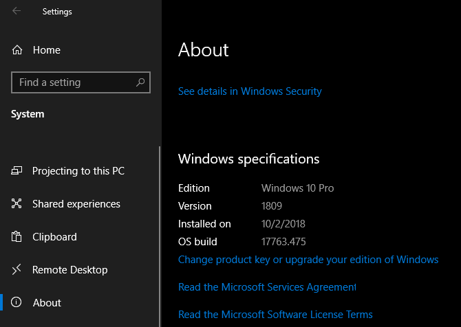 Windows 10 Specification Settings