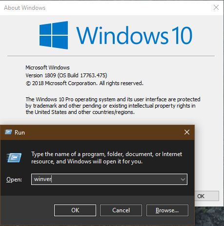Windows 10 winver Command