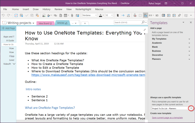 always use a specific template option in OneNote