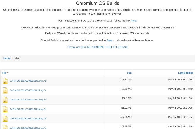 Download the latest Chromium OS image from ArnoldTheBat