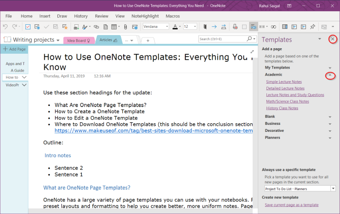 choose a template from the pane in OneNote
