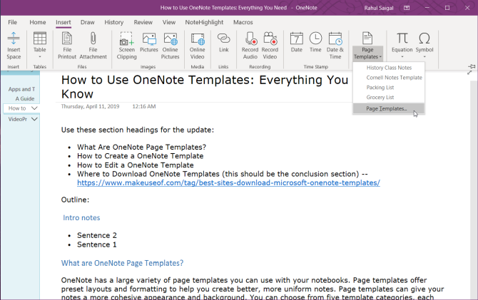 choose the page template command in OneNote