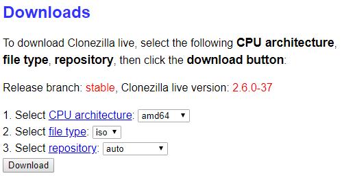 clonezilla download page