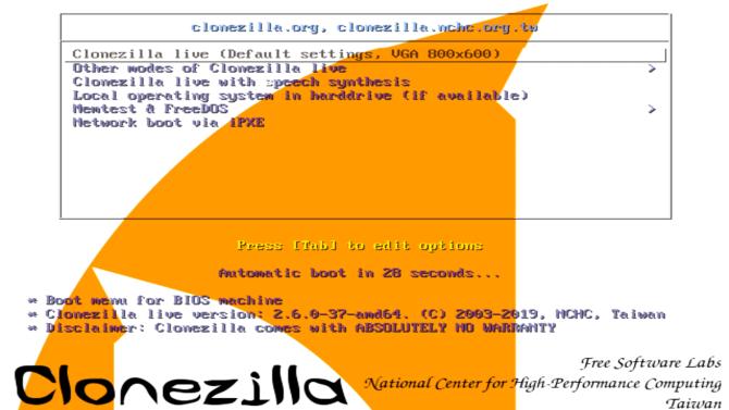 clonezilla options menu