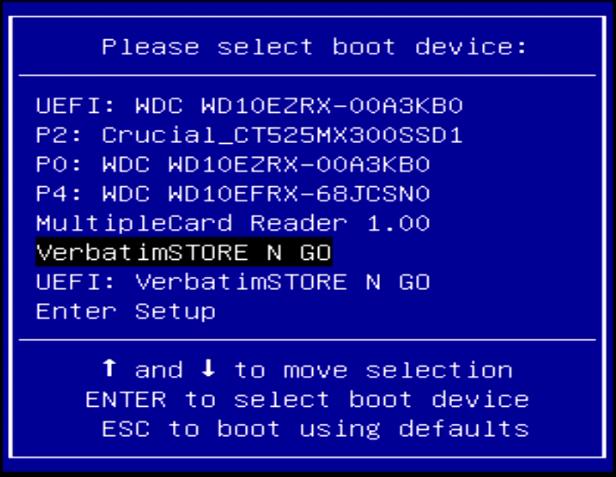 clonezilla select boot device