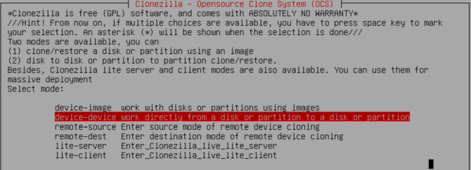clonezilla select disk and device