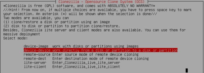 clonezilla select disk and device