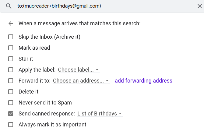 create Gmail filter to send canned response