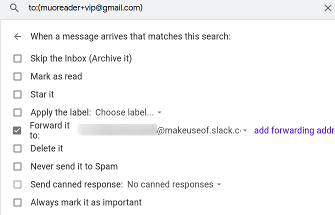 create a filter to forward emails from an alias to work email