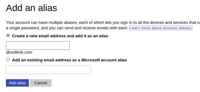 Alias creation screen in Outlook