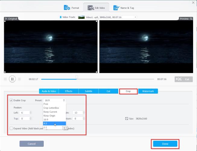 crop the video in videoproc