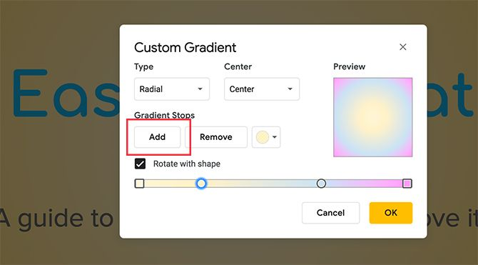 Custom Gradient Google Slides Move Second Color Stop