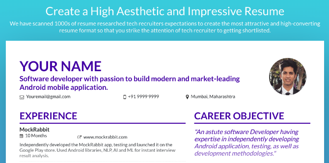 MockRabbit's resume maker creates a beautiful CV without any fuss