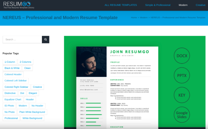 ResumGo has thousands of free resume and CV templates to download