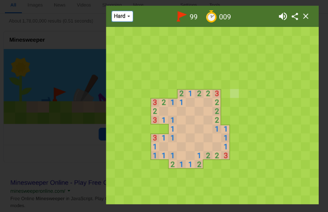 play minesweeper in google search