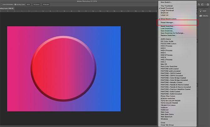 How to Create a Color Palette in Photoshop Full Dropdown Menu