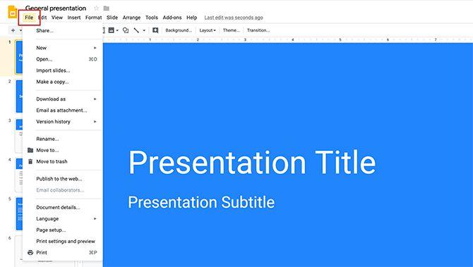 How to Create a Presentation Google Slides File Menu