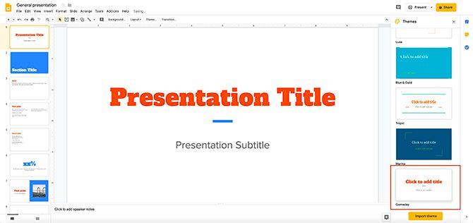 How to Create a Presentation Google Slides Change Theme