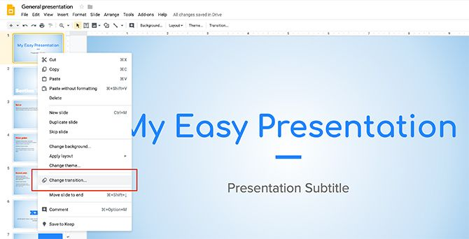 How to Create a Presentation Google Slides Change Transition