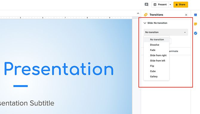 How to Create a Presentation Google Slides New Transition