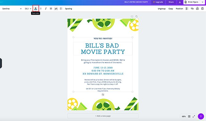 How to Make a Flyer in Canva Text Color