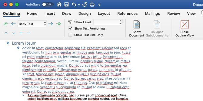 How to write an ebook: Microsoft Word Outline view