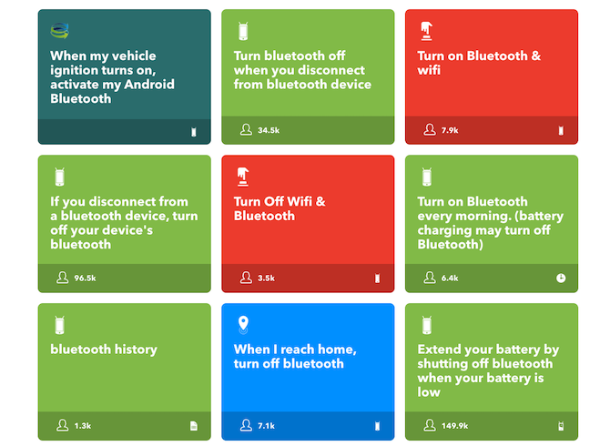 IFTTT Bluetooth applets for Android