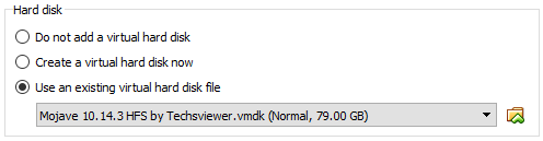 macos virtual machine select vmdk file