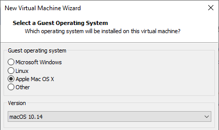 macos virtual machine vmware choose os