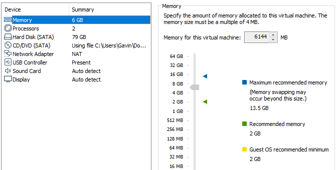 macos virtual machine vmware choose ram