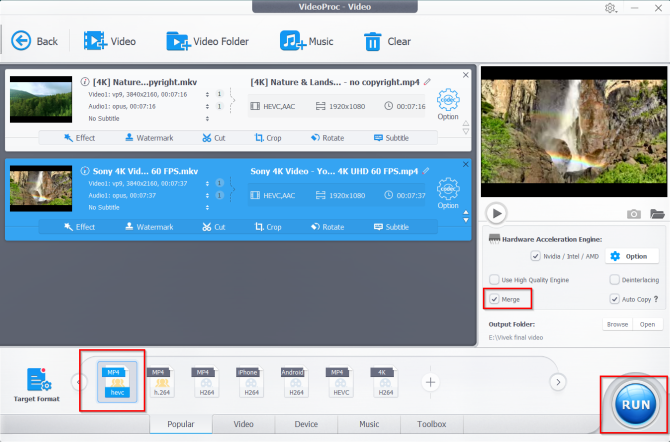 merge the video files in videoproc