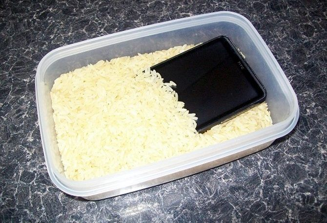 Submerge a wet phone or tablet in rice to save it from water damage