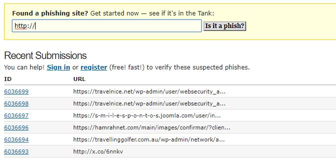 Check links for malware with PhishTank