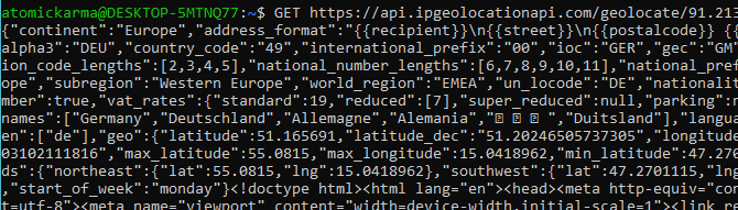 Raw data from the IP Geolocation API