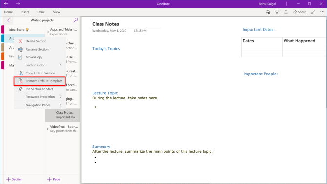 remove default template for the section in OneNote app