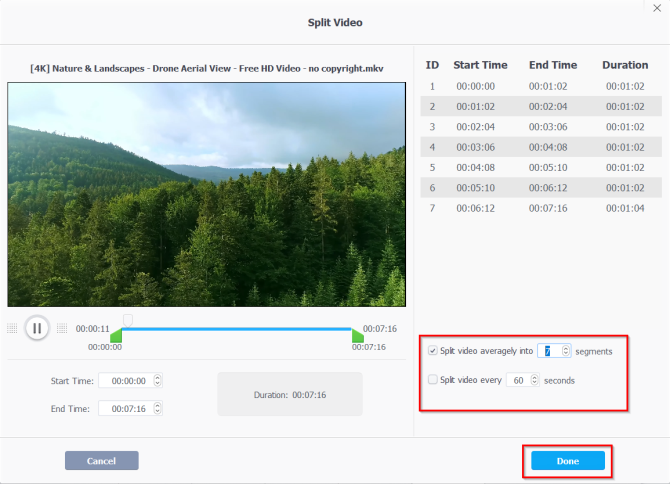 split the video by segments or time in videoproc