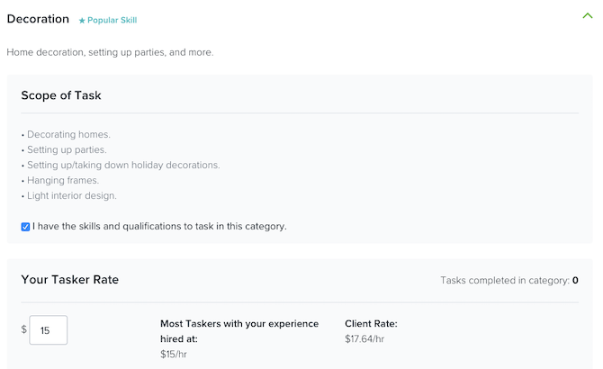 TaskRabbit jobs in the Decoration category