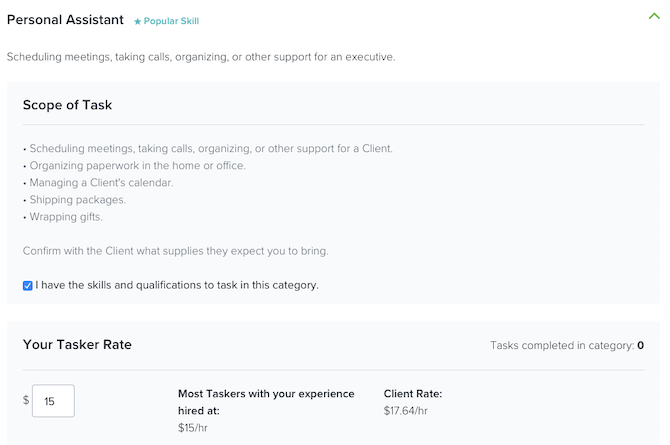 TaskRabbit jobs in the Personal Assistant category