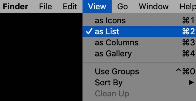 Selecting View as List for macOS Finder