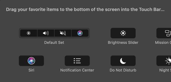 macOS Touch Bar settings