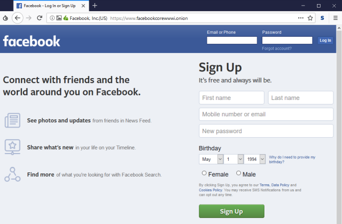tor browser facebook onion page
