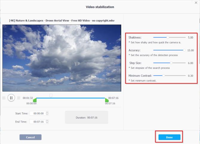 video stabilization controls in videoproc